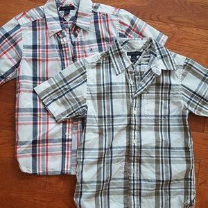 2 Tommy Hilfiger Boy's Plaid Short Sleeve Shirts